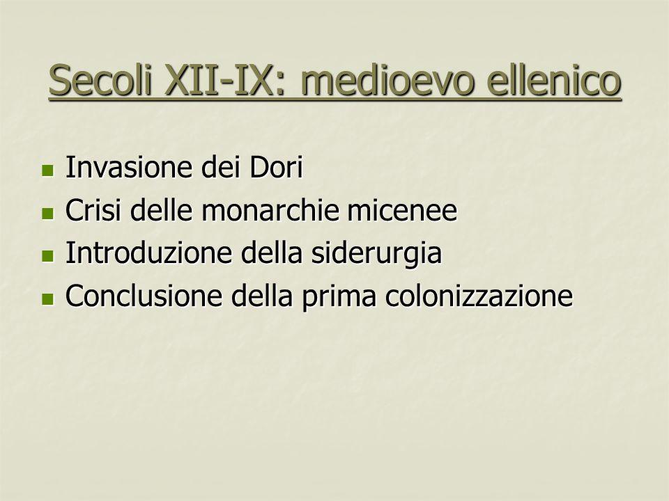 Secoli XII-IX: medioevo ellenico