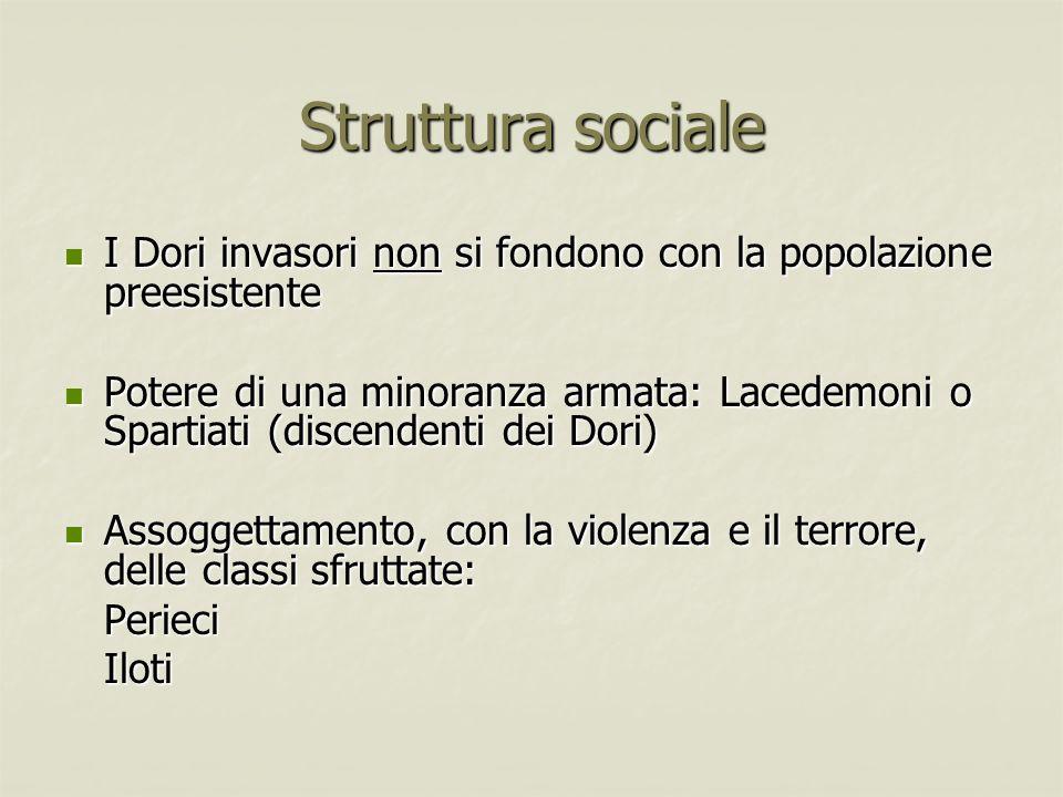 Struttura sociale I Dori invasori non si fondono con la popolazione preesistente.