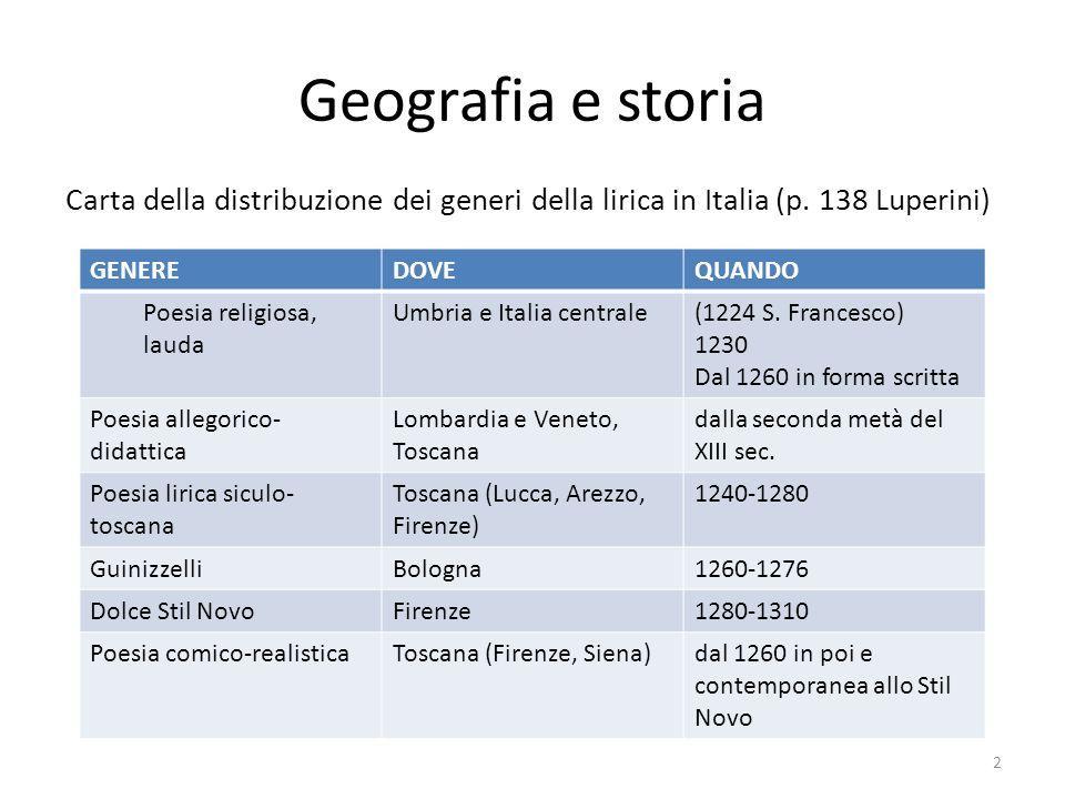 Geografia e storia Carta della distribuzione dei generi della lirica in Italia (p. 138 Luperini) GENERE.