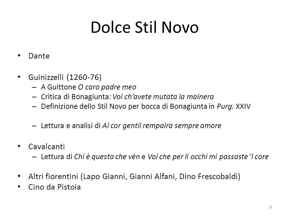 Dolce Stil Novo Dante Guinizzelli (1260-76) Cavalcanti