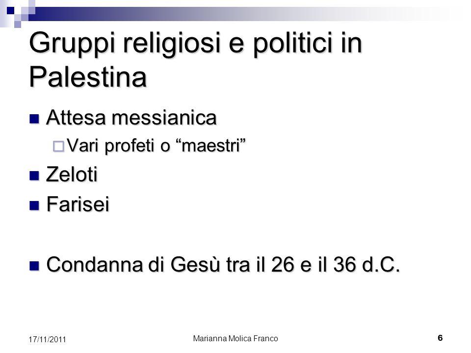 Gruppi religiosi e politici in Palestina