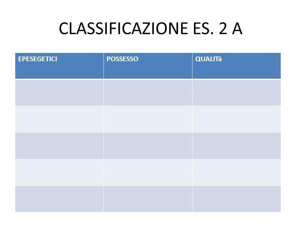 CLASSIFICAZIONE ES. 2 A EPESEGETICI POSSESSO QUALITà