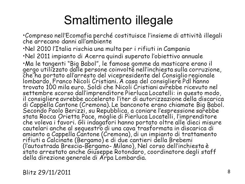 Smaltimento illegale Compreso nell'Ecomafia perché costituisce l'insieme di attività illegali che arrecano danni all'ambiente.