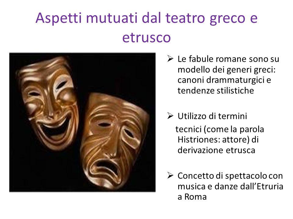 Aspetti mutuati dal teatro greco e etrusco