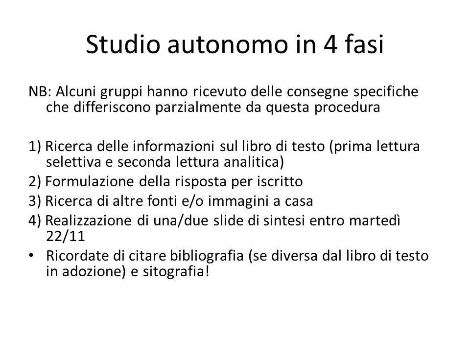 Studio autonomo in 4 fasi