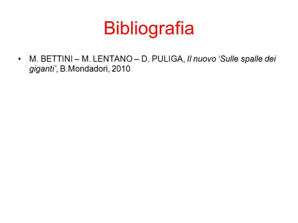 Bibliografia M. BETTINI – M. LENTANO – D.
