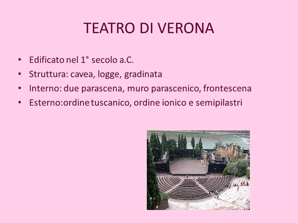 TEATRO DI VERONA Edificato nel 1° secolo a.C.