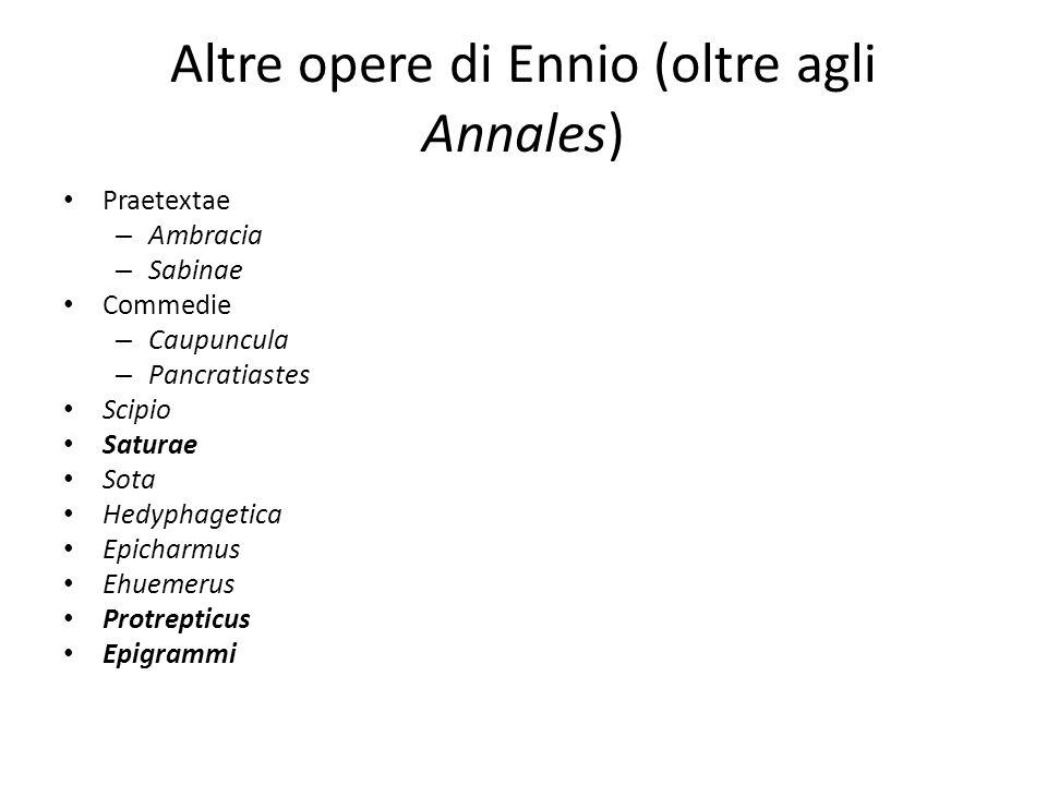 Altre opere di Ennio (oltre agli Annales)