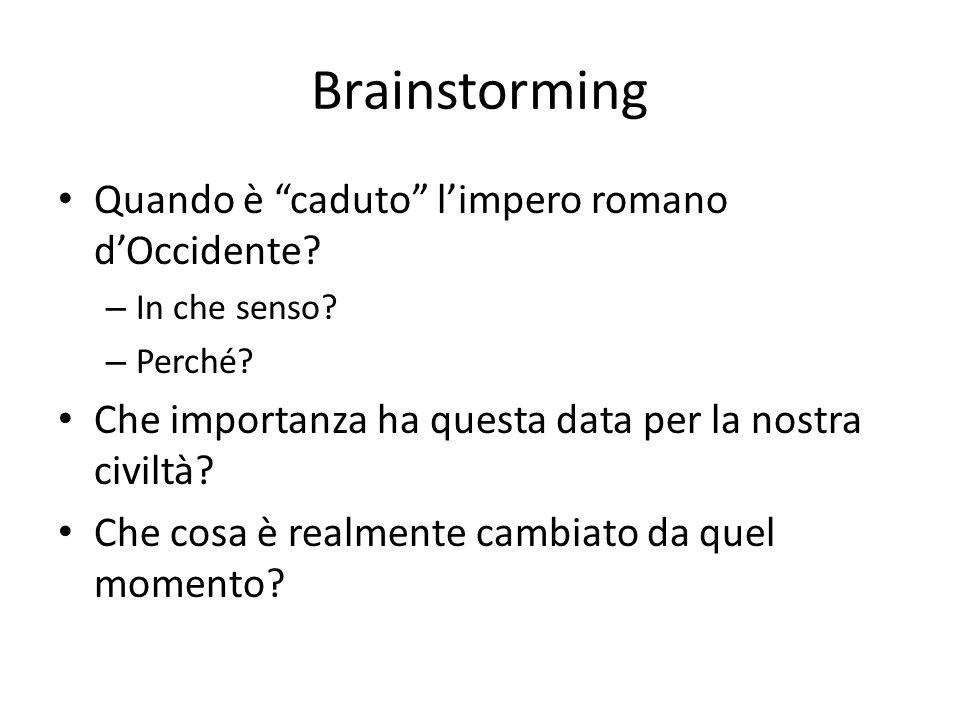 Brainstorming Quando è caduto l'impero romano d'Occidente