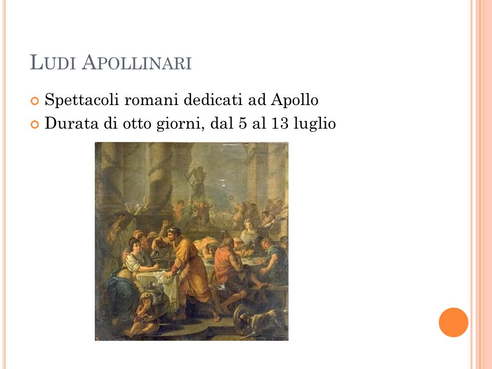 Ludi Apollinari Spettacoli romani dedicati ad Apollo