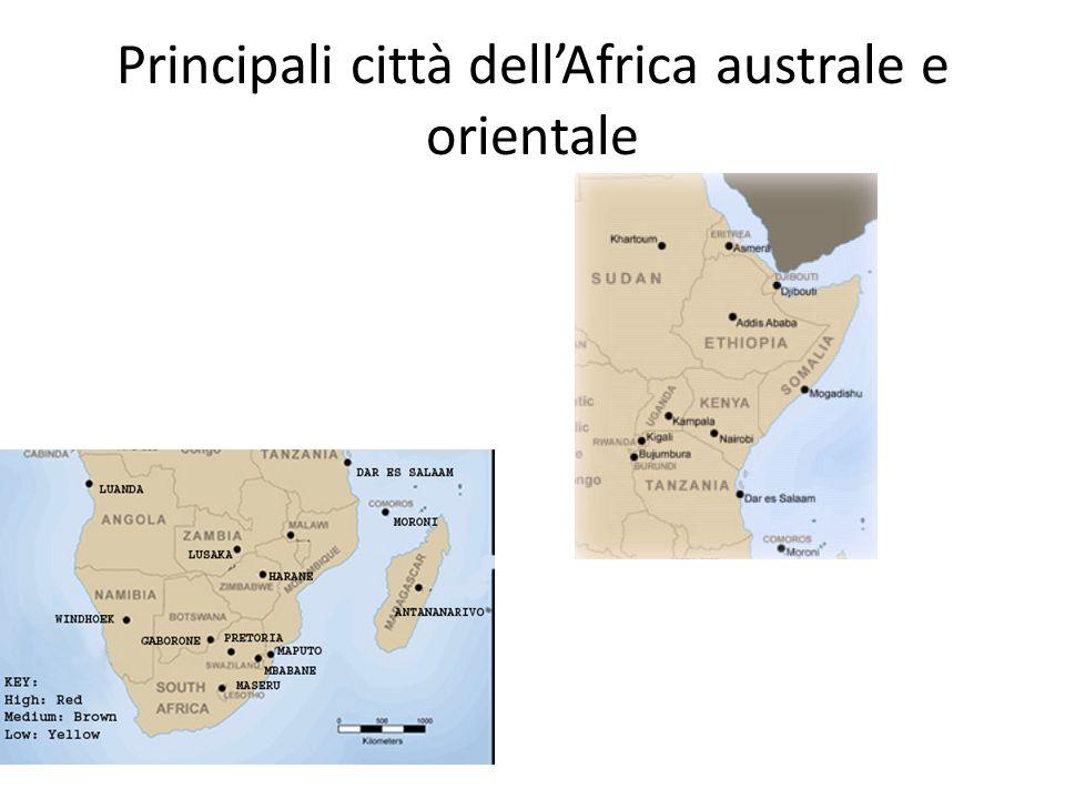 Principali città dell'Africa australe e orientale