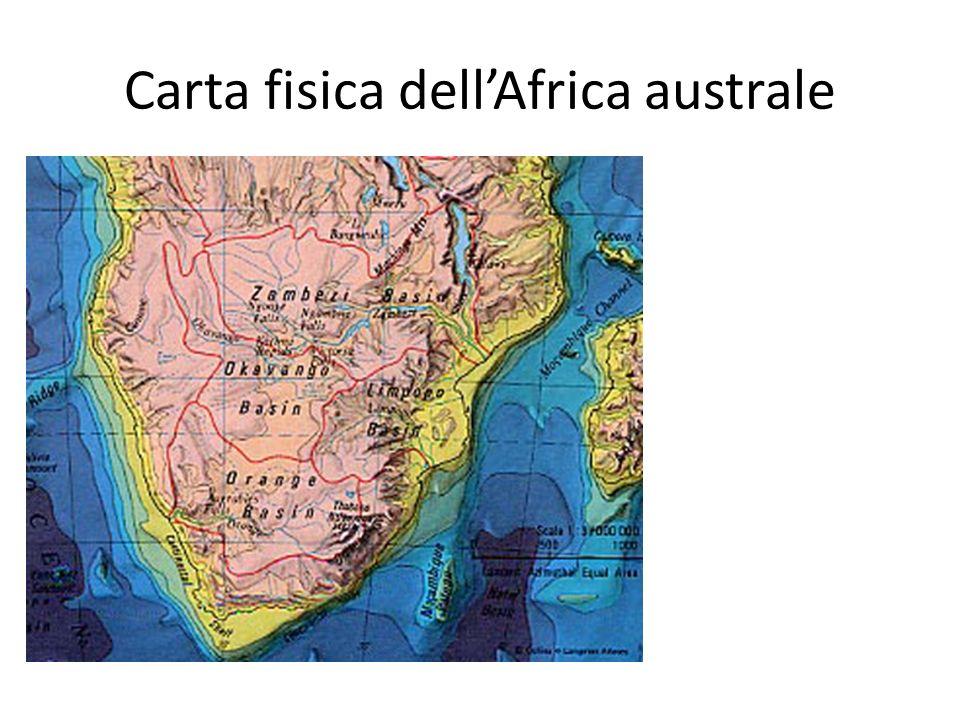 Carta fisica dell'Africa australe