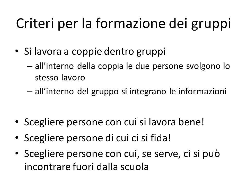 Criteri per la formazione dei gruppi