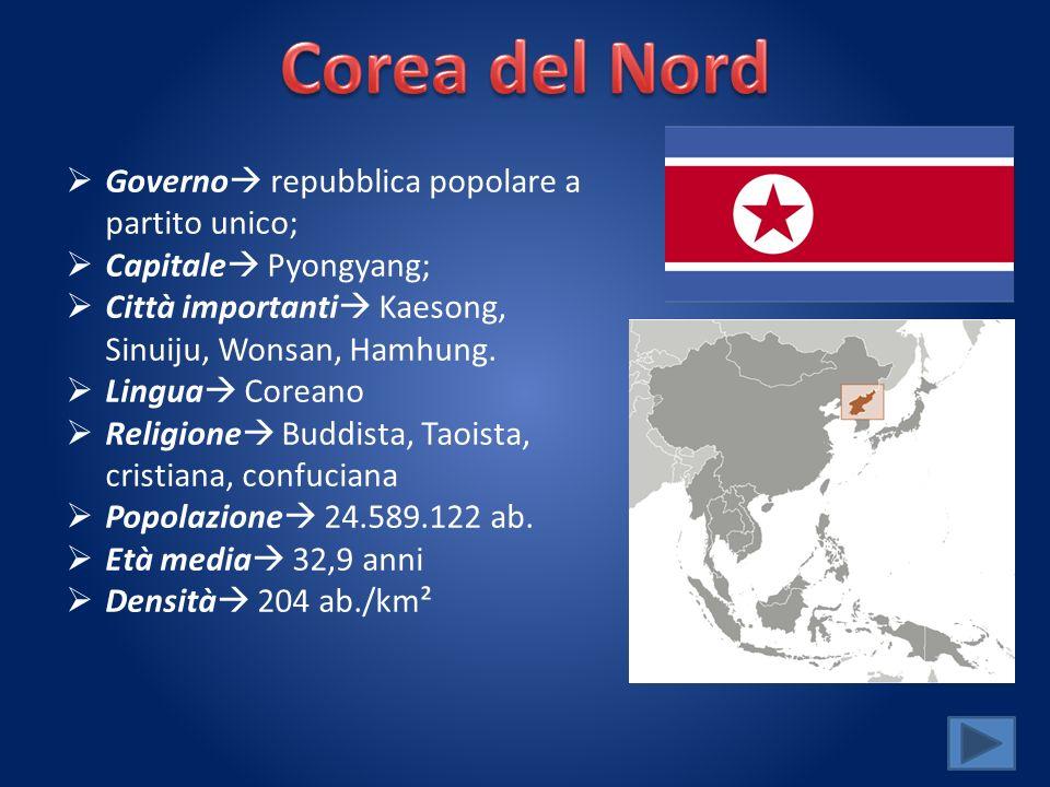 Corea del Nord Governo repubblica popolare a partito unico;