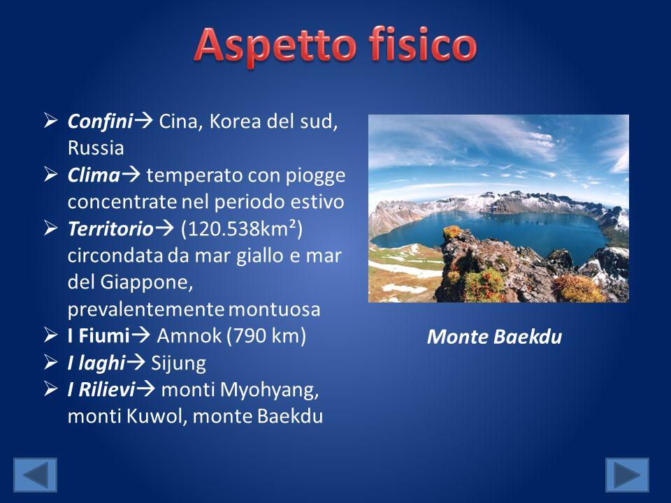 Aspetto fisico Confini Cina, Korea del sud, Russia