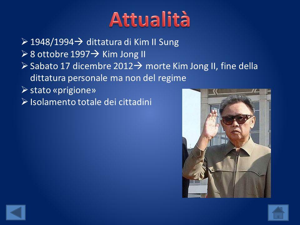 Attualità 1948/1994 dittatura di Kim II Sung