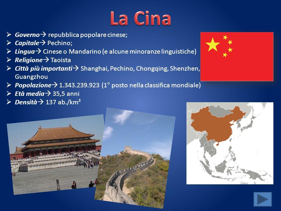 La Cina Governo repubblica popolare cinese; Capitale Pechino;
