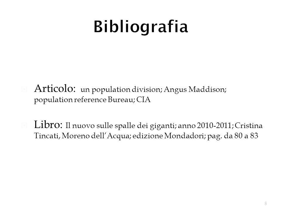 Bibliografia Articolo: un population division; Angus Maddison; population reference Bureau; CIA.