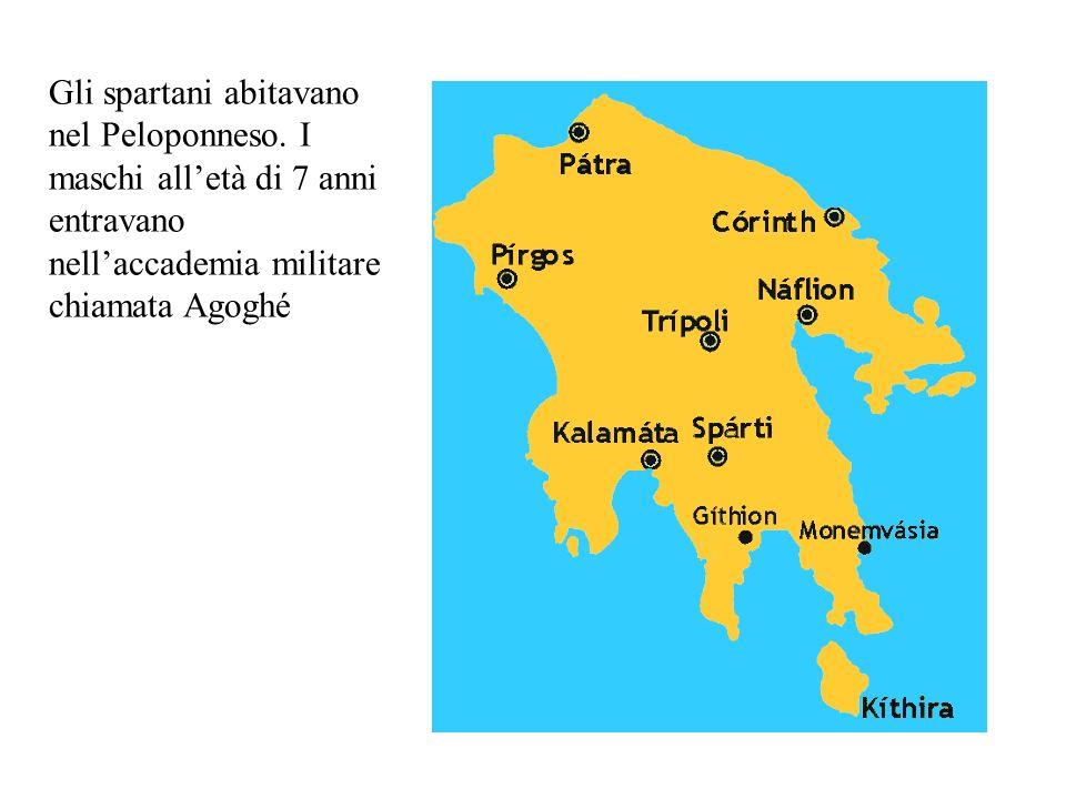 Gli spartani abitavano nel Peloponneso