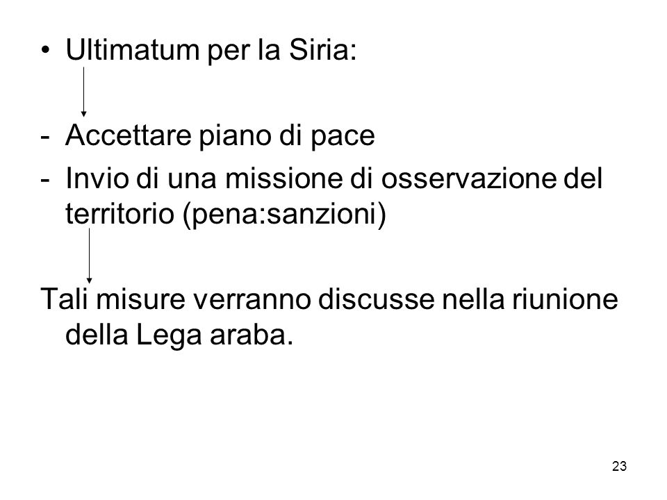 Ultimatum per la Siria: