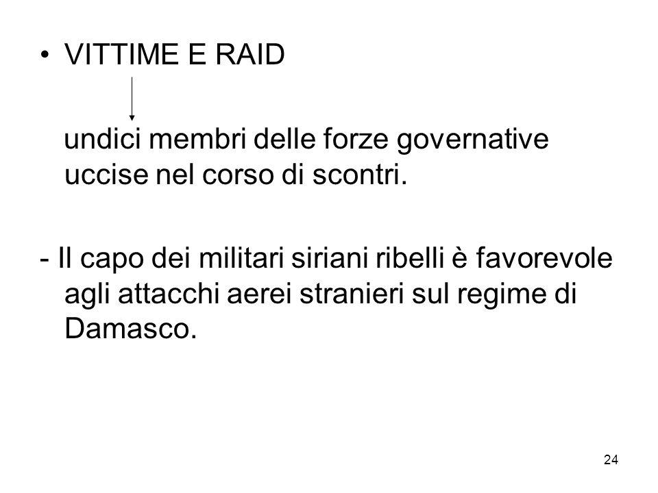 VITTIME E RAID undici membri delle forze governative uccise nel corso di scontri.