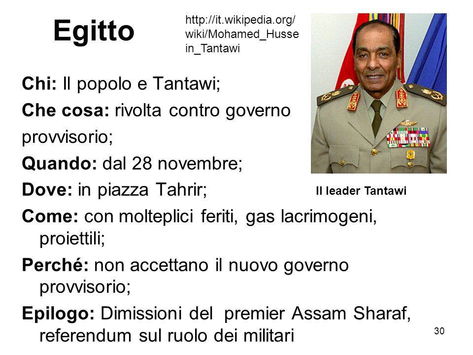 Egitto Chi: Il popolo e Tantawi; Che cosa: rivolta contro governo