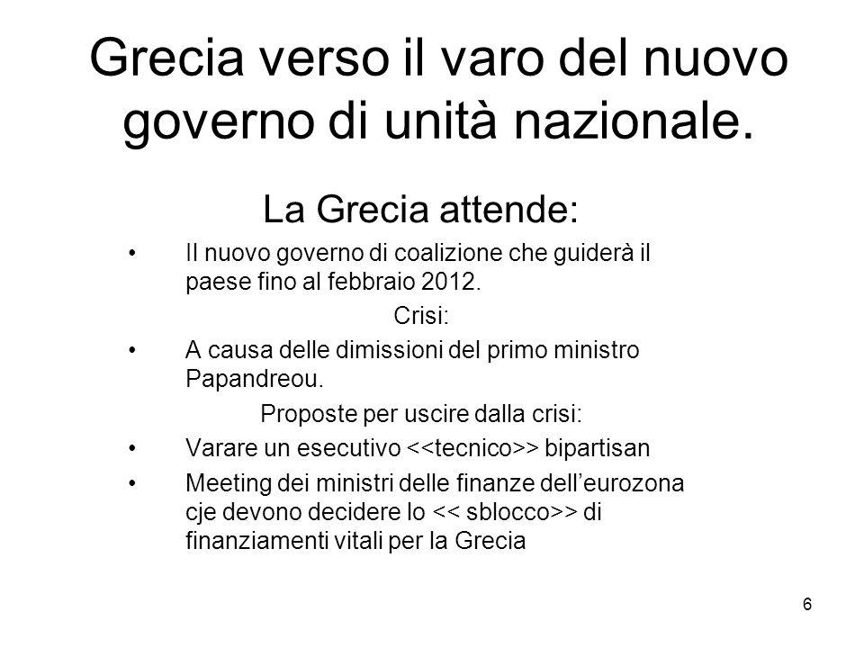 Grecia verso il varo del nuovo governo di unità nazionale.
