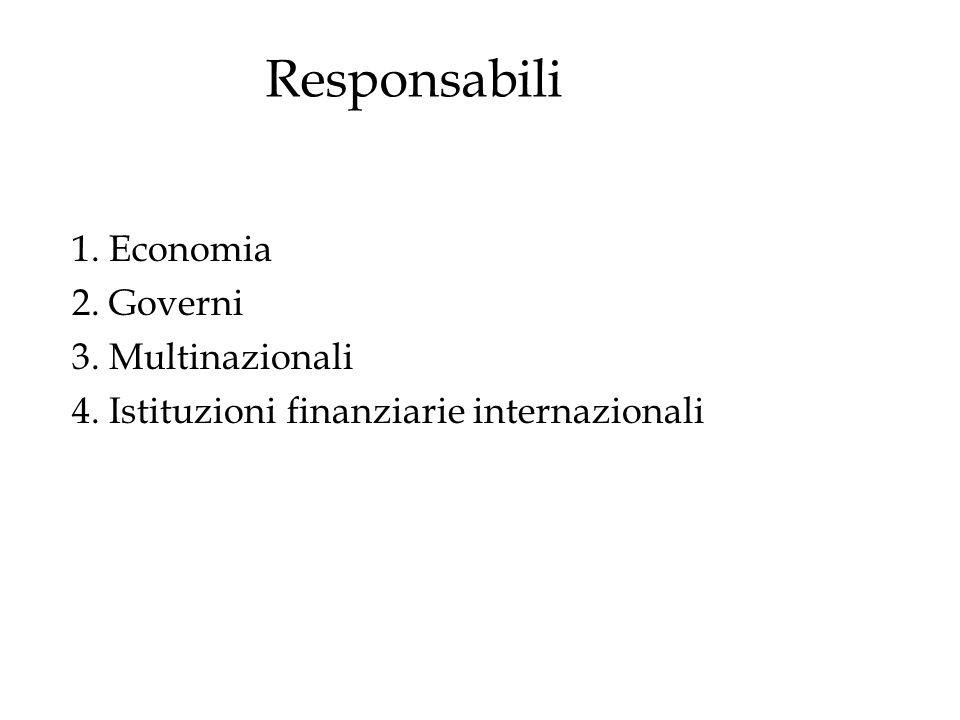 Responsabili 1. Economia 2. Governi 3. Multinazionali 4. Istituzioni finanziarie internazionali