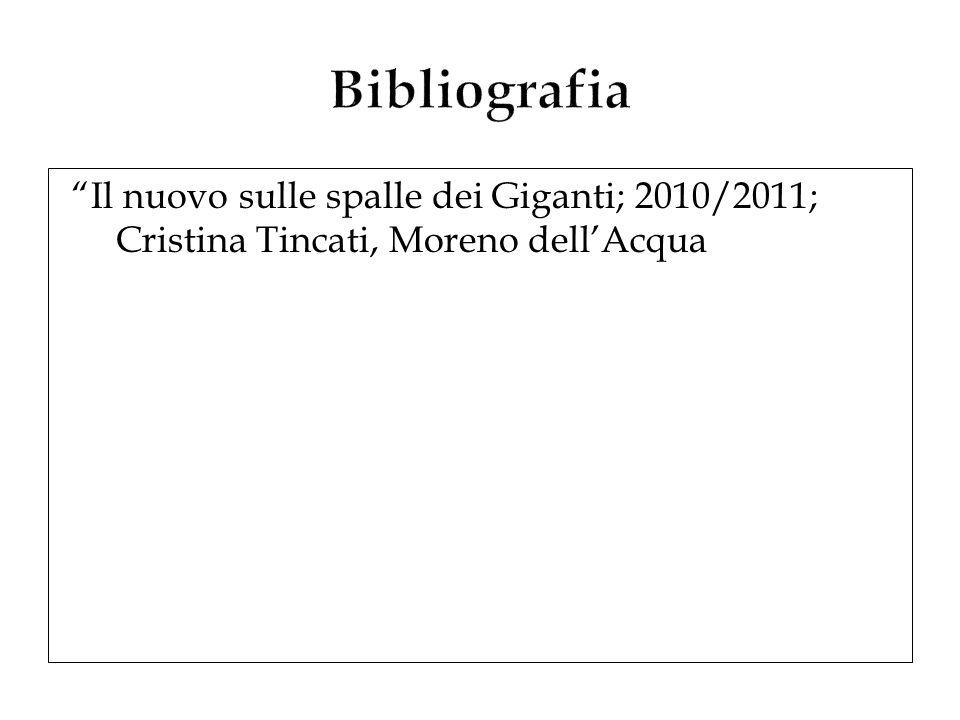 Bibliografia Il nuovo sulle spalle dei Giganti; 2010/2011; Cristina Tincati, Moreno dell'Acqua
