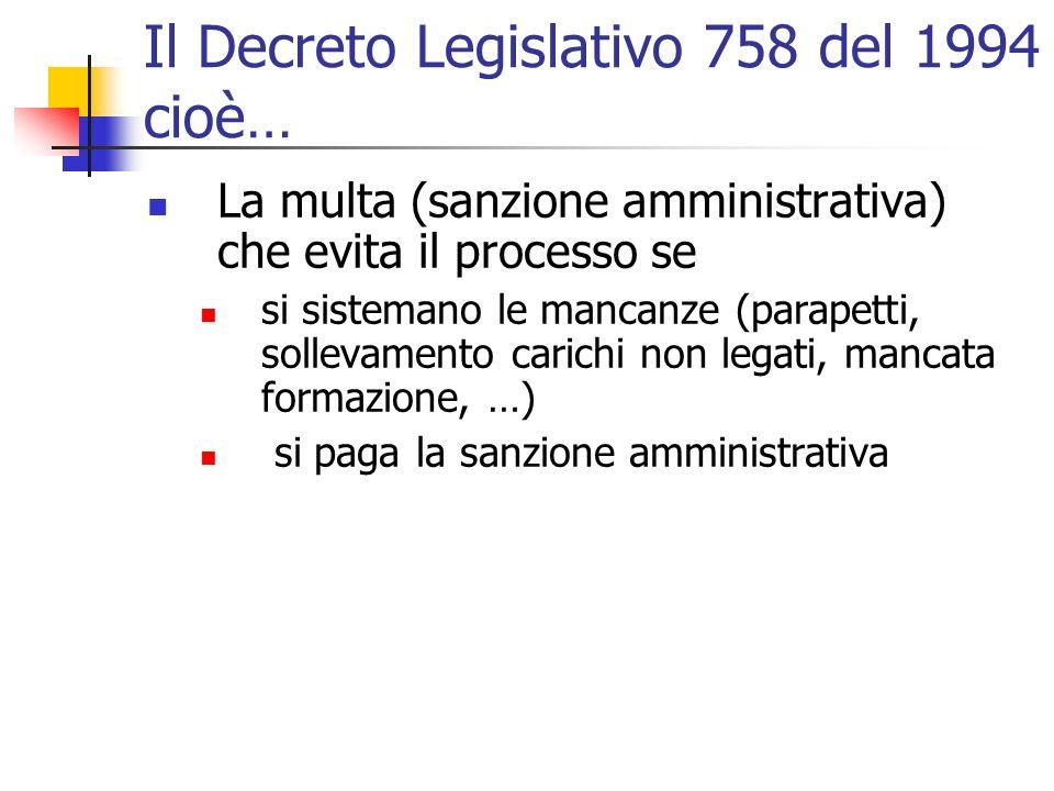 Il Decreto Legislativo 758 del 1994 cioè…
