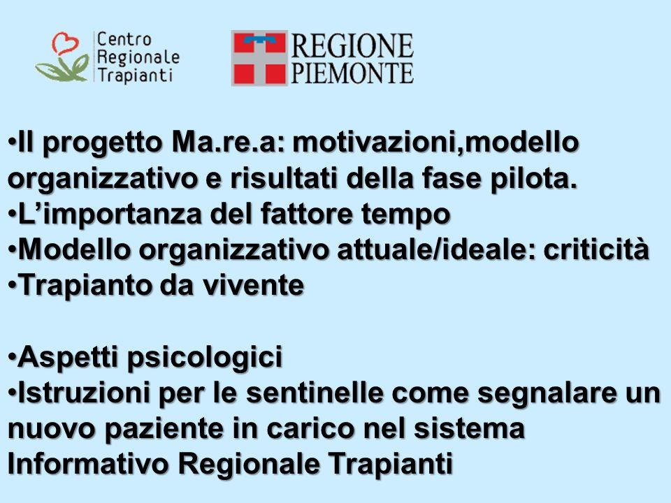 Il progetto Ma.re.a: motivazioni,modello organizzativo e risultati della fase pilota.