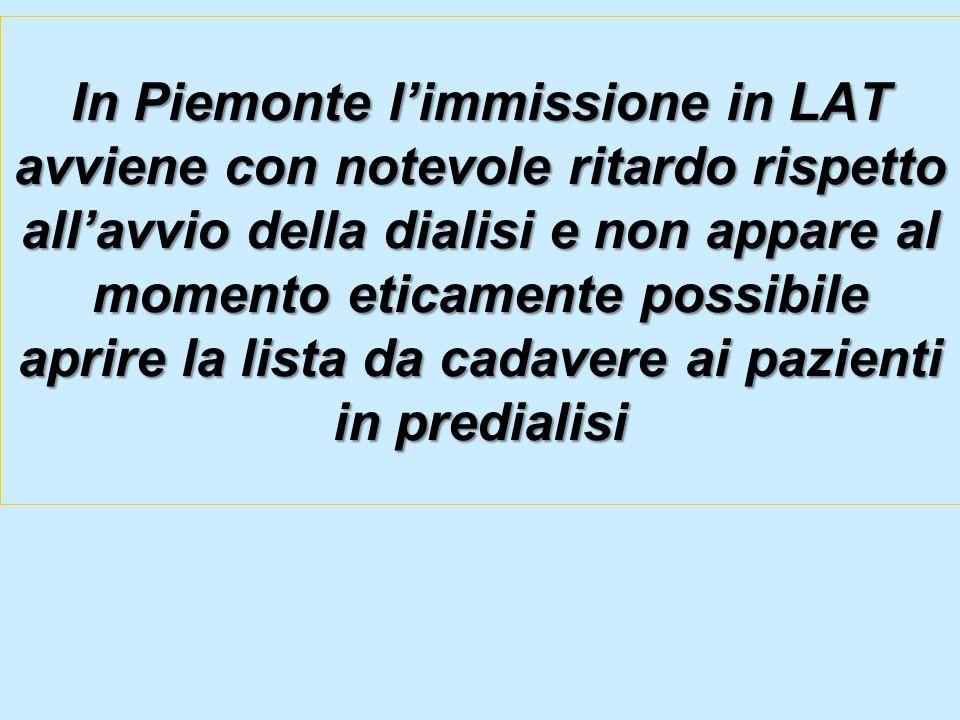 In Piemonte l'immissione in LAT avviene con notevole ritardo rispetto all'avvio della dialisi e non appare al momento eticamente possibile aprire la lista da cadavere ai pazienti in predialisi