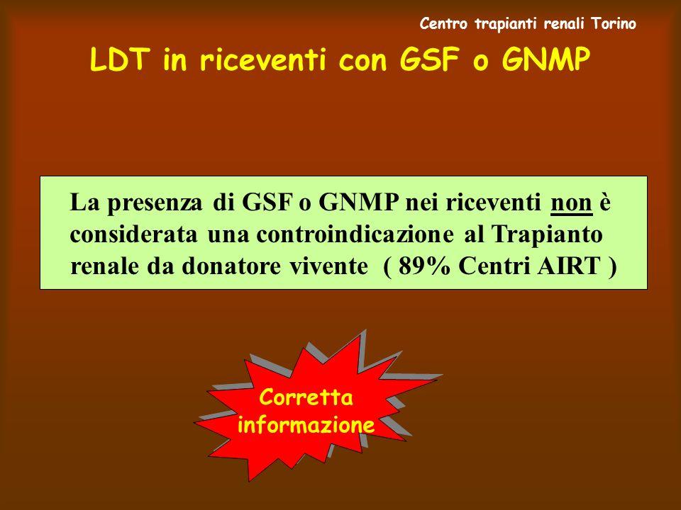 LDT in riceventi con GSF o GNMP