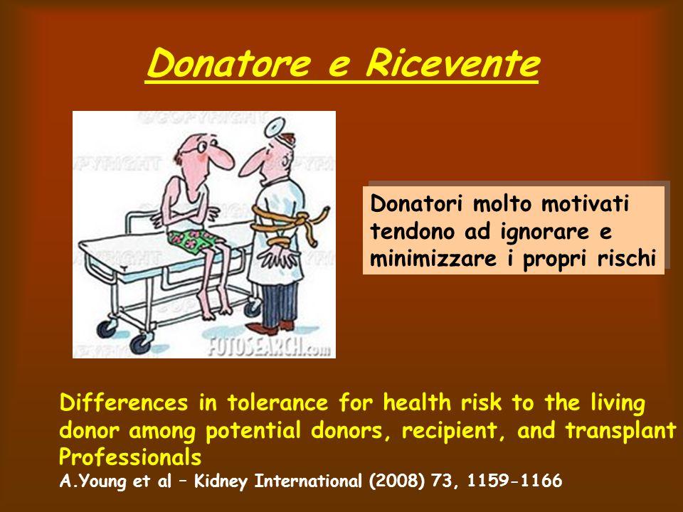 Donatore e Ricevente Donatori molto motivati tendono ad ignorare e