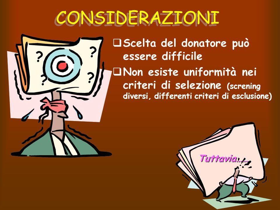 CONSIDERAZIONI Scelta del donatore può essere difficile