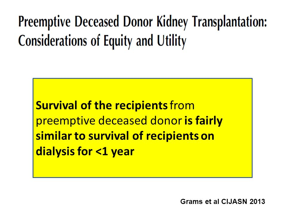 Survival of the recipients from preemptive deceased donor is fairly similar to survival of recipients on dialysis for <1 year