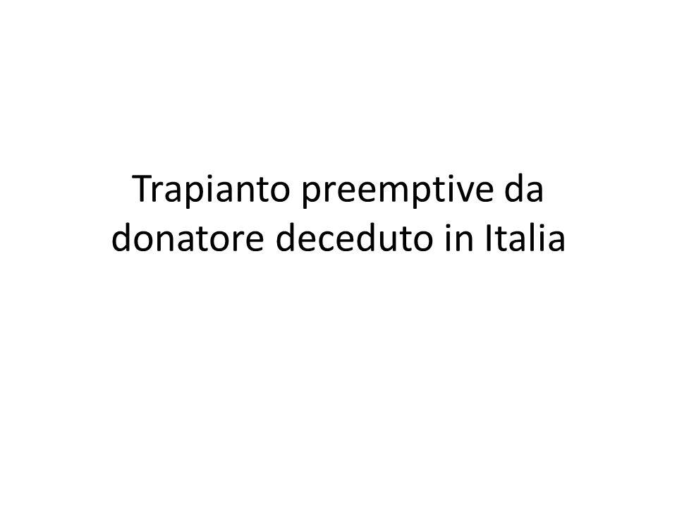Trapianto preemptive da donatore deceduto in Italia