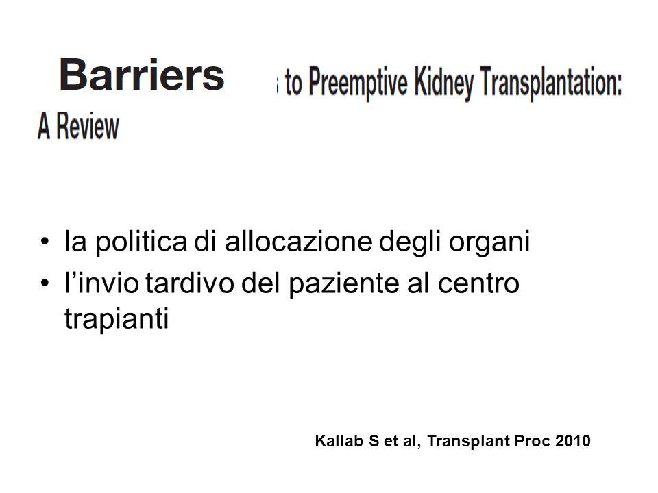 la politica di allocazione degli organi