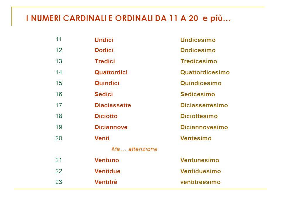 I NUMERI CARDINALI E ORDINALI DA 11 A 20 e più…