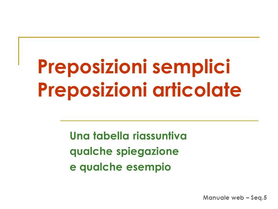 Preposizioni semplici Preposizioni articolate