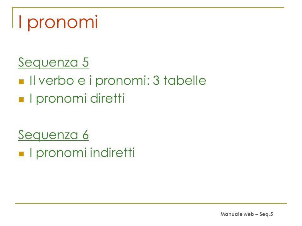 I pronomi Sequenza 5 Il verbo e i pronomi: 3 tabelle I pronomi diretti