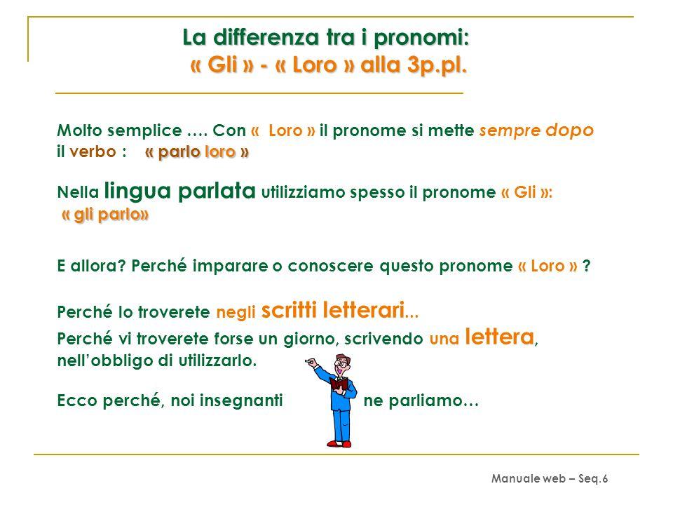 La differenza tra i pronomi: « Gli » - « Loro » alla 3p.pl.