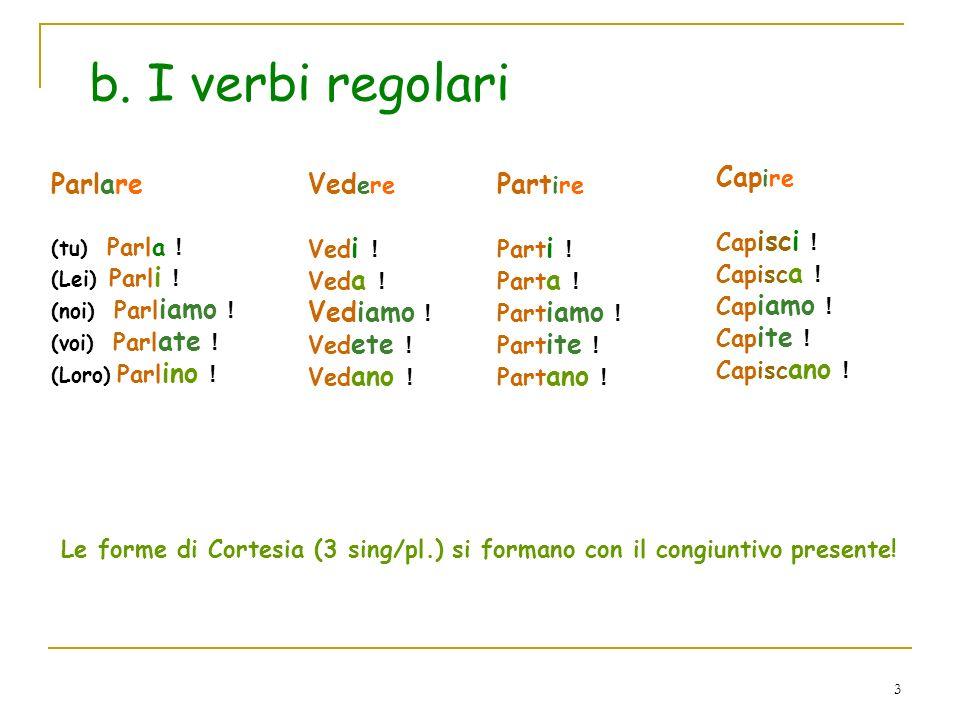 b. I verbi regolari Capire Parlare Vedere Vediamo ! Partire Capisci !