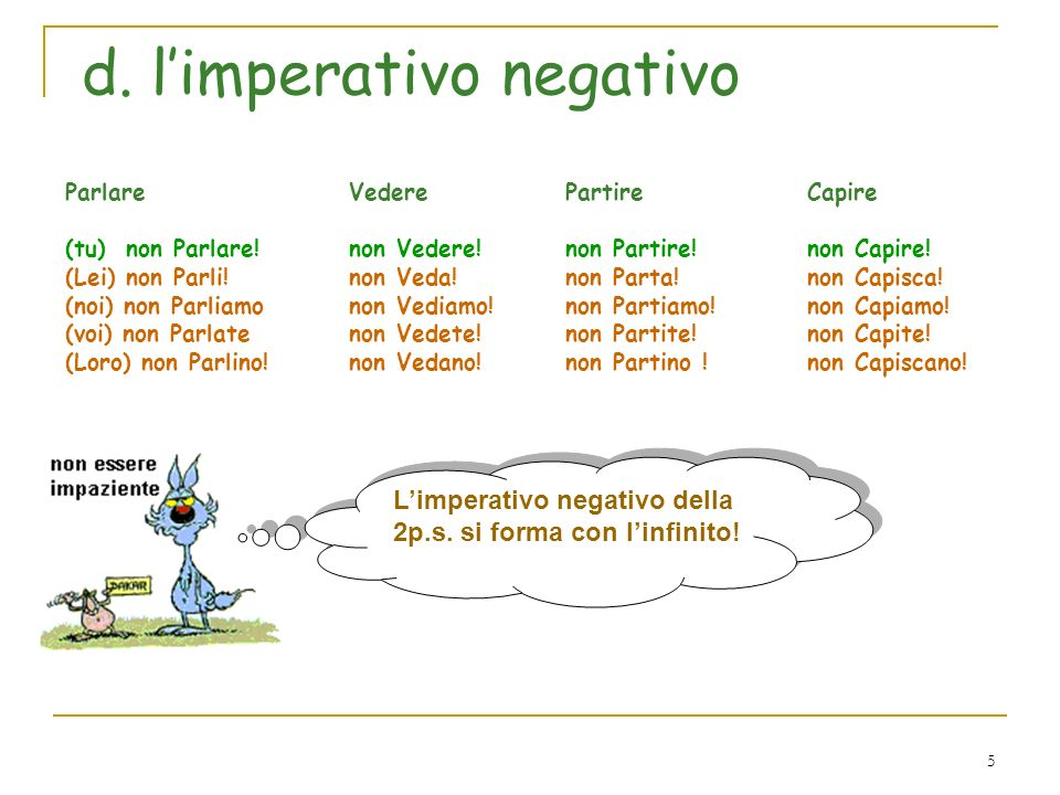 d. l'imperativo negativo