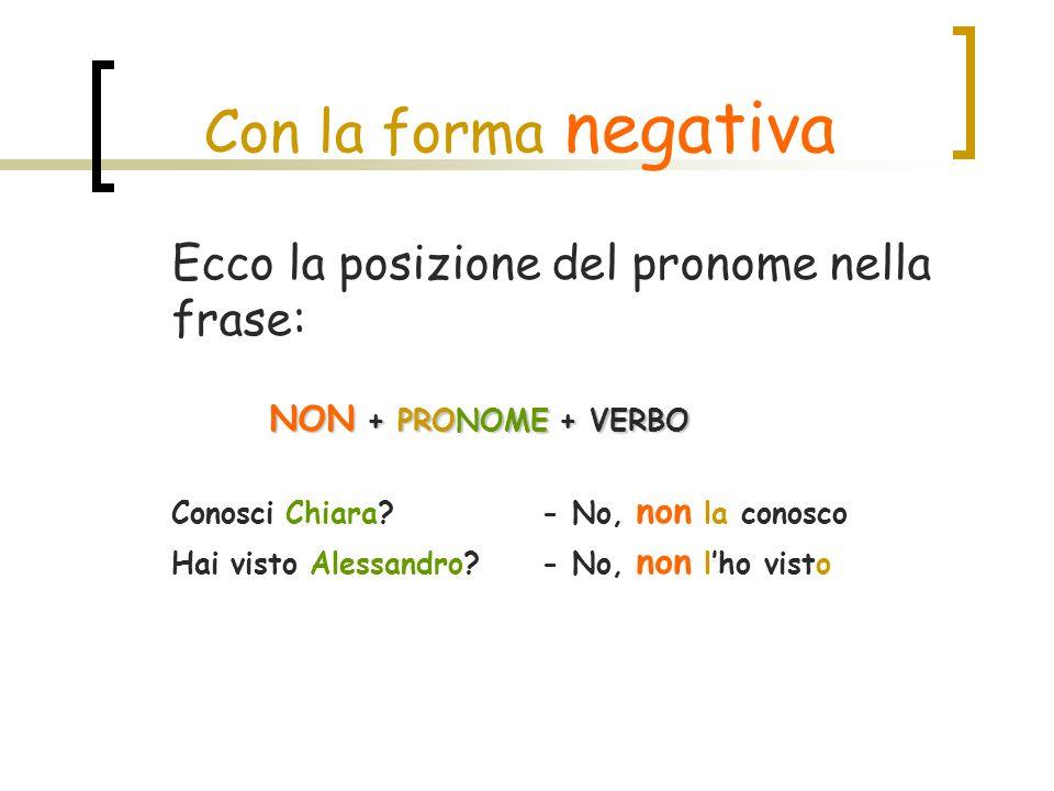 Con la forma negativa Ecco la posizione del pronome nella frase: