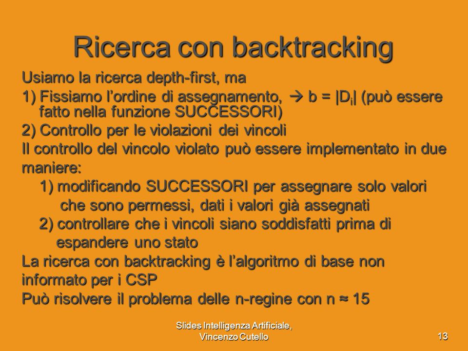 Ricerca con backtracking