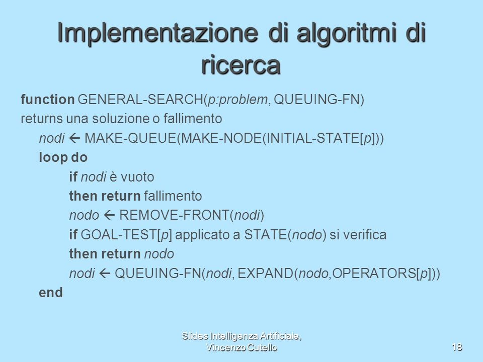 Implementazione di algoritmi di ricerca