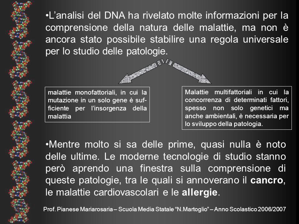 L'analisi del DNA ha rivelato molte informazioni per la comprensione della natura delle malattie, ma non è ancora stato possibile stabilire una regola universale per lo studio delle patologie.