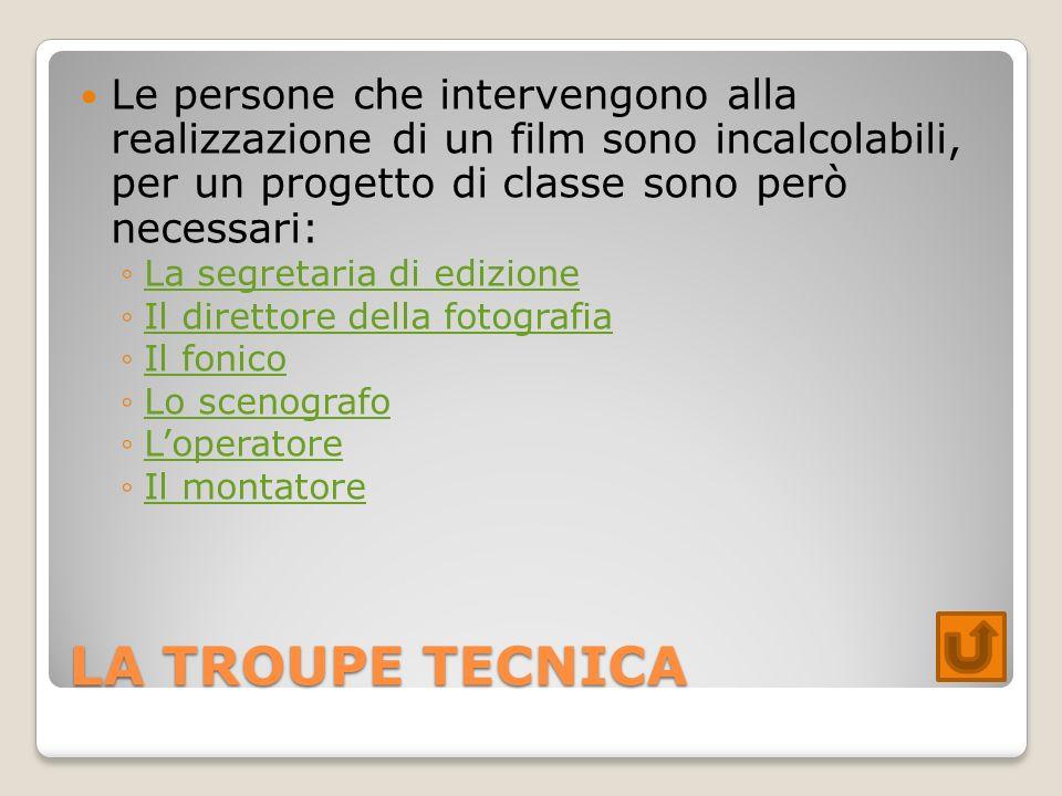Le persone che intervengono alla realizzazione di un film sono incalcolabili, per un progetto di classe sono però necessari: