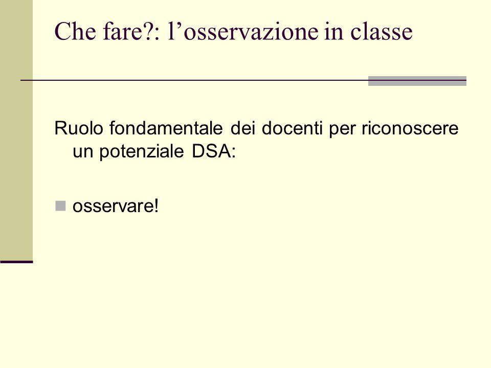 Che fare : l'osservazione in classe